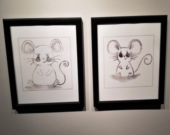 Framed Sketched Wall Art Mouse Set of 2