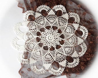 SALE 10% OFF: Large crochet doily White crochet doilies Linen lace doily Rustic table decoration 176