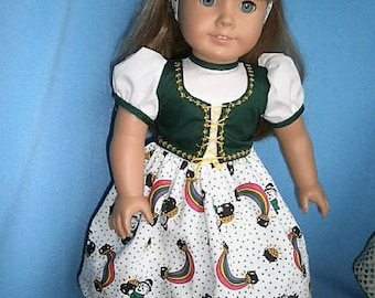 Special Bargain, Reduced Price,  Ships Free,  Pub Dress for American Girl Size Dolls , Irish Print Dress with accessories for 18  inch dolls
