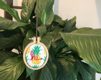 Embroidery Hoop Necklace {Pineapple}