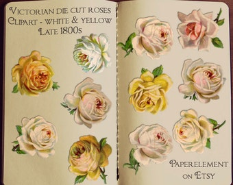 Digital Rose Clipart: Rose Digital Clip Art - Flower Clip Art, Victorian Floral, Yellow Roses Clipart Download, White Rose Vintage Graphics