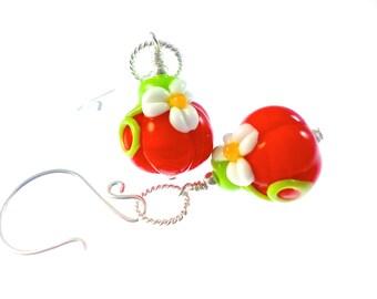 Halloween Earrings, Handmade Lampwork Earrings, Orange Dangle Earrings, Unique Glass Bead Earrings, Pumpkin Earrings, Lampwork Jewelry