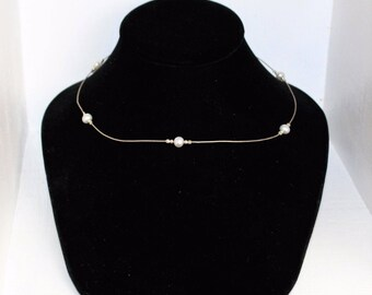 """Sterling Silver 925 Faux Pearl 17"""" Braided Rope Choker Necklace - Italy"""