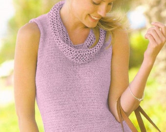 Vintage Knitting Pattern Womens Knit Short Sleeved or Sleeveless Cowl Tee Top Sweater Pretty Summer Pullover PDF Instant Digital Download