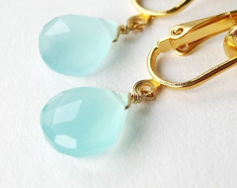 Aqua Chalcedony Clip On Earrings, Gold Ear Clips, Light Blue Teardrops, Faceted Gemstone Clipons, Handmade, Tranquil