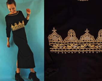 1980s Black Knit Empire Waist Long Dress with Gold Beaded Bodice