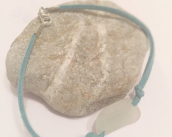 Sea Glass Bracelet Teal Suede Rope Aqua Beach Wedding Jewelry Isle Of Wight Seaglass