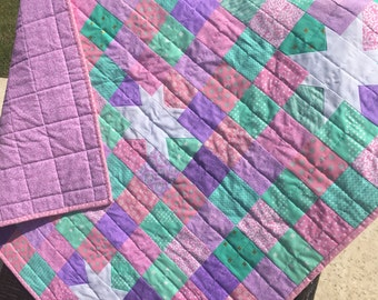 Wonky Star Baby Girl or Toddler Quilt, Pink, Lavender, Purple, Teal - Free Shipping!