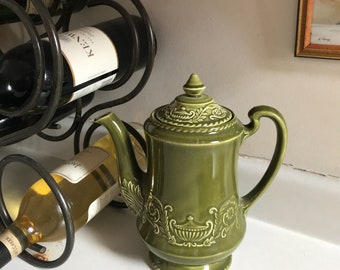 Vintage olive green coffee pot