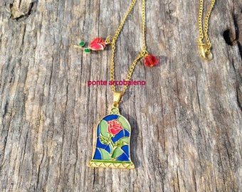 Beauty and the Beast Necklace/ ispiration/ rose/ crystal/ jewelry/ for her/ gift