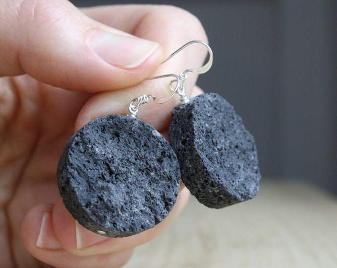 Featured listing image: Essential Oil Diffuser Earrings . Lava Rock Earrings NEW