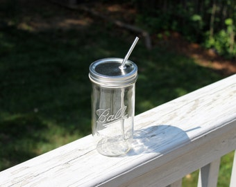 """24oz Ball Jar """"To-Go Cup"""" - with an additional """"non-straw lid"""" for storage/transport - Upcycled Ball Jar with Reusable Stainless Steel Straw"""