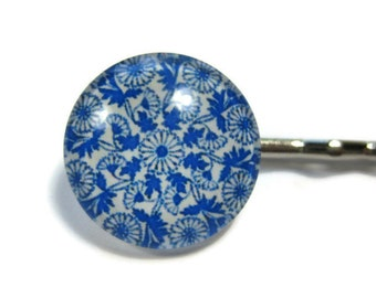 Blue and White Floral Bobby Pin Set of 2