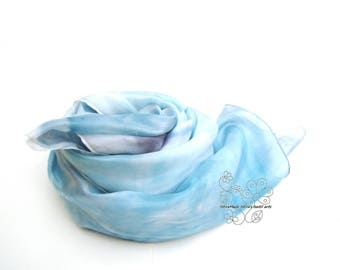 Sky blue silk scarf, fashion long silk scarf, hand dyed silk scarf, luxury sarong, feminine, bridal shawl, bridesmaid gifts, boho wedding