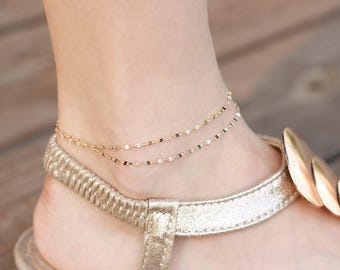 plated fashion bracelet double chain ankle foot jewelry beach water hollow gold product anklets layer anklet