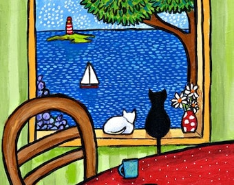 Cats and Cupcakes and a Typewriter Ocean- Duffett Print