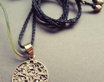 Tree of life necklace (brass/macrame)