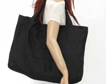 Linen bag / Linen tote bag / Linen shopping bag /Linen beach bag  /Black Linen Bag