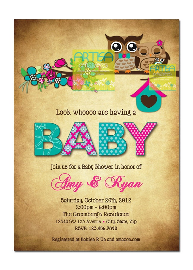 Owls invitation owls mom and baby shower invitation pink zoom filmwisefo