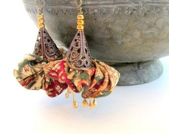 Oriental fiber earrings, silk golden earrings, floral fabric earrings, bohemian fiber earrings