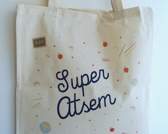 """Gift school Tote bag """"Super?"""" - end year gift teacher gift to school gift Christmas gift?"""