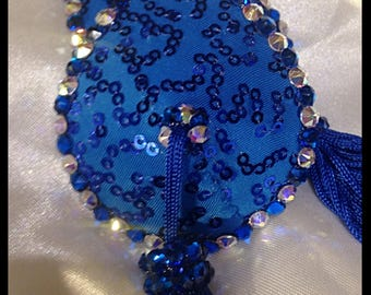 Blue Teardrop Pasties with Tassels