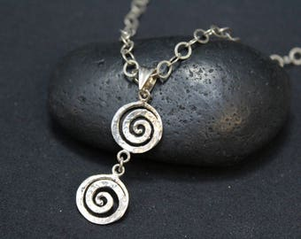Sterling Silver Spiral Necklace, Sterling Silver Swirl Necklace, Sterling Swirl Pendant, Swirl Dangle Pendant, Abstract Sterling Necklace