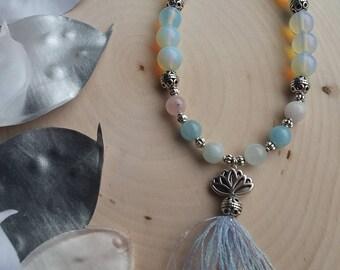 Morganite & Moonstone Lotus pendant