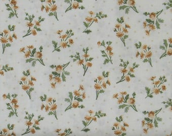 Brown, Tan and Green Flower Sprays on White Background 100% Cotton Quilt Fabric, Evelyn by Whistler Studios for Windham Fabrics, WIF41983-3
