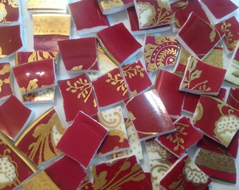 Broken China mosaic tiles~~Handcut Tiles~~CRanBeRRy and ELeganT GoLD