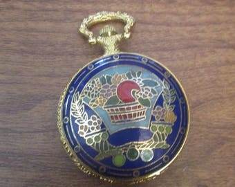 Blue Enamel Pocket Watch with Fruit Bowl Design