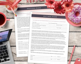 Adult&Minor Model Release Form - MsWord and Photoshop Template for Photographers - INSTANT DOWNLOAD - MR002