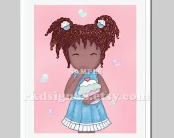 African nursery art print, kids wall art, children decor, girl art print, kitchen art print, cupcake print - Oops, More Lovely Cupcake 8x10