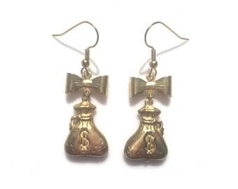 Vintage Money Bag Earrings