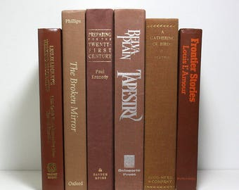 Brown Books, Set of 6 Decorative Hardcover Books, Book Bundle, Louis L'Amour, A Gathering of Birds, Office Decor, Home Decor, Stage Props