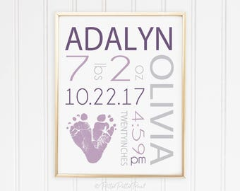 Purple Gray Girls Nursery Birth Announcement Wall Art, Baby Footprint Decor, Personalized with Your Child's Feet 8x10 inches UNFRAMED