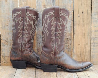 Austin Hall Boot Us 10 C western boot Us 43 cowboy boot dark brown western boot 10 cuban heel boot 10 pointed toe boot USA western narrow