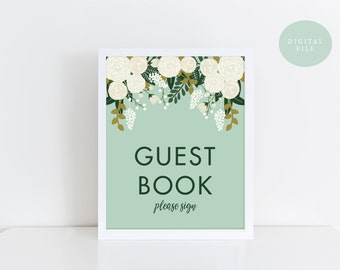 PRINTABLE Guest Book Sign Printable  Vintage Wedding Sign  Botanical Floral Wedding Sign  Wedding Guest Book  INSTANT DOWNLOAD