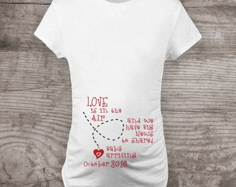 "Personalized Valentines Day Maternity t-shirt Pregnancy Announcement ""Love is in the air"" baby love gift new baby mommy to be-a323"