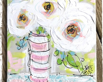 "White Peonies Abstract Painting Ready to Ship YelliKelli 8"" x 10"""