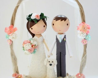 custom wedding cake topper - beach arch