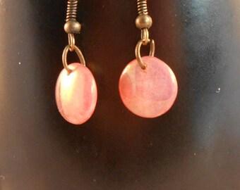Copper dangle bead earrings,copper drop bead earrings,round bead earrings