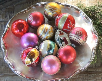 Antique Blown Glass Ornaments Set of 12 Mid Century Christmas Ornaments, Holiday Decor, Collectible, Tree Decorations, Tree Trimming