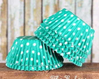 Jade Green Polka Dot Cupcake Liners, Teal Green Cupcake Liners, Green Cupcake Wrappers, Jade Green Baking Cups, Green Muffin Cases (50)