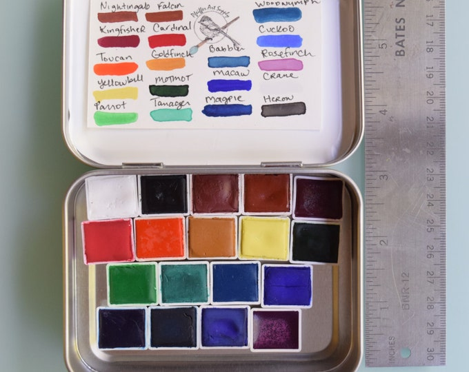 Watercolor paint handmade travel tin palette - 18 half pans of YOUR CHOICE - brush included