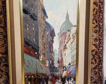 "Mid Century Impressionist Oil Painting Francois Dubois Paris Street Scene Well Done 12.25"" x 24"" canvas (one of a pair)"