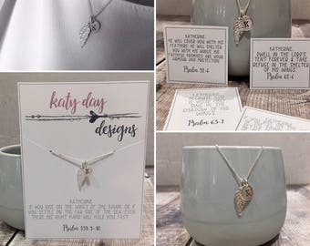 Sterling Silver Wing & Personalised Tag Necklace,  Christian Scripture Necklace (free gift wrap/box)