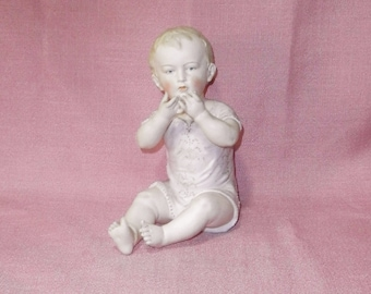 """antique rare piano baby/ Hertwig/ 7 1/2""""/bisque, porcelain/Germany"""