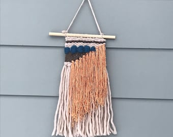 Neutral weaving with blue and copper details\boho\handwoven wall decor