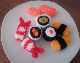 Sushi dishes with 9 parts-even crochet